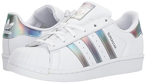 adidas Kids' Superstar J Sneaker, White/White/Gold Metallic, 4.5 M US Big Kid by adidas (Image #6)