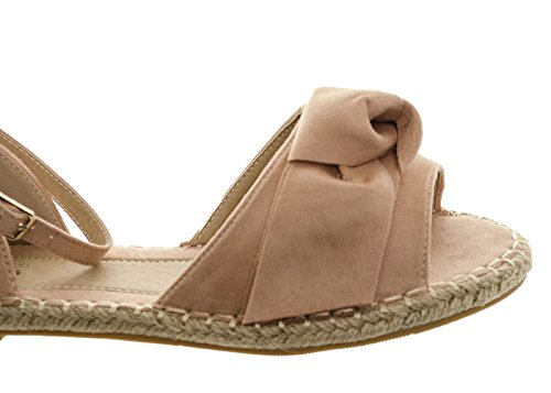 Women's Espadrille Suede Bow Ankle Strap Sliders Comfy Summer Slippers Knot Sandal Ladies Pink RALap