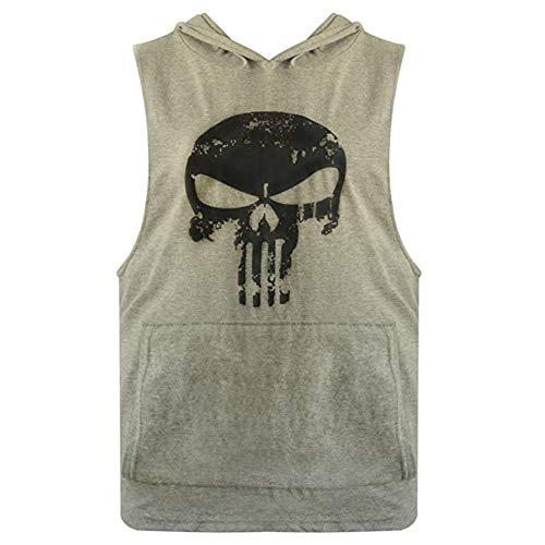 YYW Mens Skull Print Stringer Bodybuilding Gym Tank Tops Workout Fitness Vest