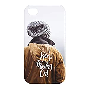 Loud Universe Apple iPhone 4/4s 3D Wrap Around Keep on Moving on Print Cover - Multi Color