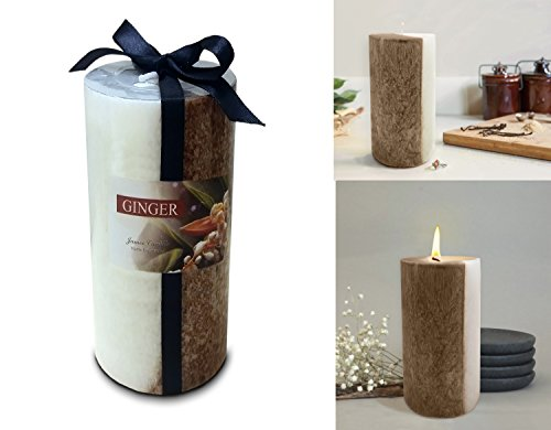 Decor Hut Scented Pillar Candles Two Tone Soothing Relaxing Fragrance Gift Wrapped 6 Inch Tall (Ginger)