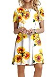 POPYOUNG Women's Casual Summer Dresses Tshirt Beach Dress 2XLarge, Floral SF-W