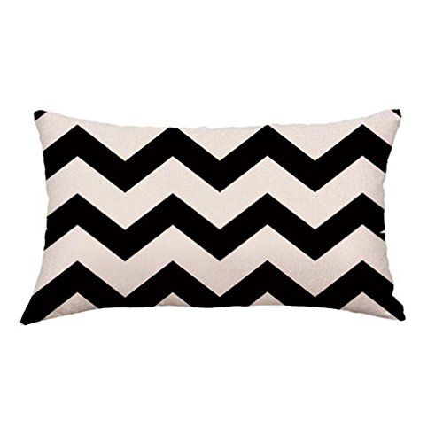 Price comparison product image Challyhope Classic Fashion Geometry Painting Linen Cushion Cover Rectangle Throw Pillow Case Sofa Home Decor (Black & White A)