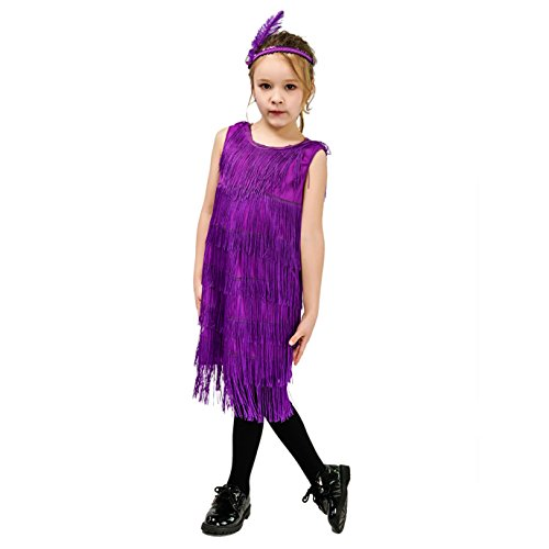 Kids Girl's Fashion Flapper Satin Dress Costume (M, Purple) ()