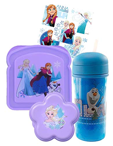 Disney Frozen Kids Reusable Lunch Box Set! Includes Sandwich Box, Water Bottle & Snack Container, Featuring Elsa & Anna! Zak Designs 3pc Set, BPA Free
