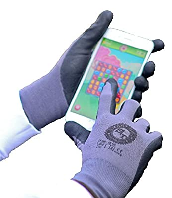 Work Gloves - Touchscreen Compatible Safety Work Gloves with 15 Gauge Nitrile Coating and Lycra Liner,12 Pair per Pack