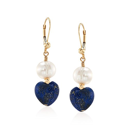 - Ross-Simons 8-8.5mm Cultured Semi-Baroque Pearl and Lapis Heart Bead Drop Earrings in 14kt Gold