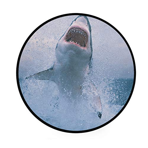 Shark Jumping Out of Water Round Floor Mat Carpets Home 92 cm Door Mats Anti Slip Entrance Rugs Doormats 36.2 Inch (A Shark Jumping Out Of The Water)