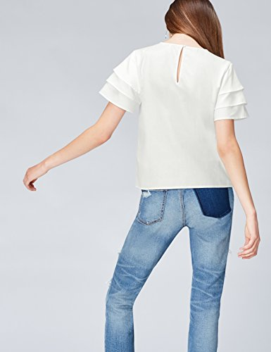 Blouse Tiered White FIND Sleeve Femme Blanc E1zdqCn