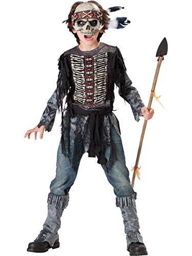 Spirit Warrior Halloween Costume (InCharacter Costumes, LLC Boys 8-20 Spirit Warrior Tunic Set, Black/White, X-Large)
