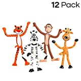 Kidsco 12 Pack Bendable Zoo Animals 4-inch-Tall, Giraffes, Tigers, Monkeys and Zebras – Bendable Fun Toy, Great Party Favor