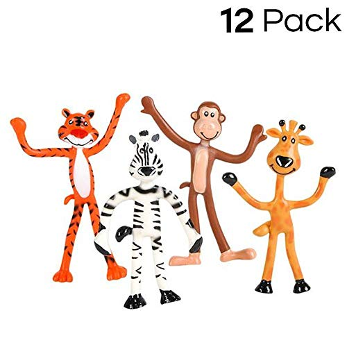 Giraffe Monkey - Kidsco 12 Pack Bendable Zoo Animals 4-inch-Tall, Giraffes, Tigers, Monkeys and Zebras – Bendable Fun Toy, Great Party Favor