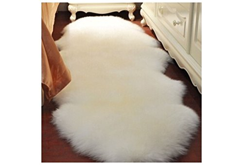 ANGELS-WS-Pure 4-in-1Super Soft Washable Shiny Sheepskin Fur Wool Carpets Runner Rugs for Runner Floor Chairs Bed Home Decoration Table Living Room for Families (Faux Mirror Door Barn)