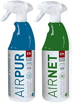 CH Quimica Pack AIRNET + AIRPUR pulverizadores Limpiador y Elimina olores Aire Acondicionado 750 ml
