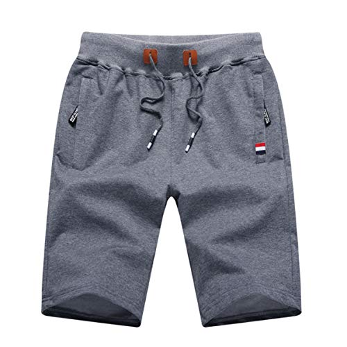 GUNLIRE Big Boy's Dark Grey Casual Shorts Summer Cotton Drawstring Elastic Waist Pockets Shorts 2019