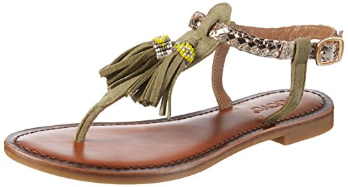 Inuovo 7308, Chanclas para Mujer Grün (Olive-Gold)