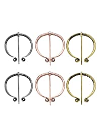B Blesiya 6Pcs Viking Penannular Brooch Scarf Pin Holder Norse Celtic Norsemen Badge Charm Jewelry, 3 Colors