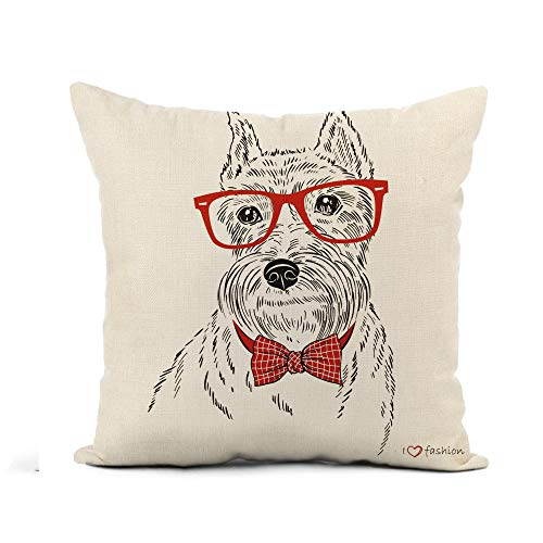 Awowee Flax Throw Pillow Cover Red Bow of Schnauzer Dog Boy Portrait Tie Face 16x16 Inches Pillowcase Home Decor Square Cotton Linen Pillow Case Cushion Cover