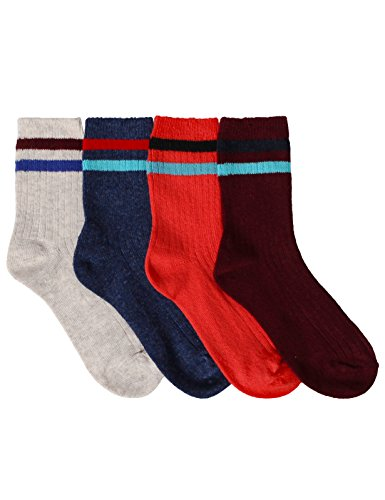 OSABASA Women Stripe Tube Wool Crew Socks 4Pairs With Various Printing(KWMS0347-SET2)