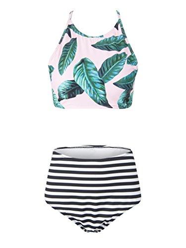 Leaf Print Fashion (Choies Mother's Day Multicolor Leaf Stripe Print Strap Back Cross Padded Bikini Set M)