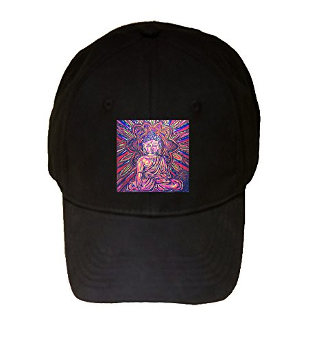 Buddha Trippy Mural Yuya Negishi YUYART - Printed Black Adjustable Cap Hat ()