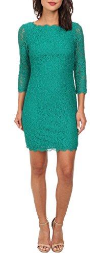 Berydress 3/4 Sleeve Full Zip Back Short Lace Cocktail Dress (6, Green)