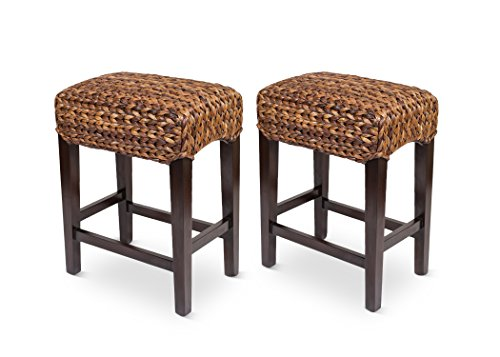 Bird Rock Home Seagrass Backless Counter Stool – Set of 2 – Handwoven – Natural Fibers – Fully Assembled