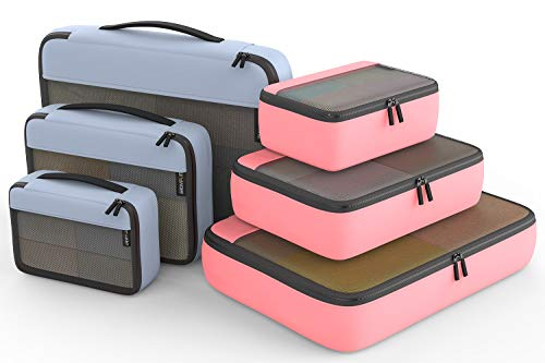 Packing Cubes Organizer Bags For Travel Accessories Packing Cube Compression 6 Set For Luggage Suitcase (Light Grey Pink) ()