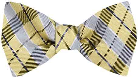 92b1462a9b2d Men's Yellow Silk Plaid Checkered Self Tie Bowtie Tie Yourself Bow Ties