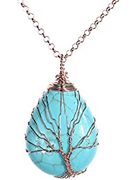 Wire Wrapped Tree of Life Natural Gemstone Teardrop...