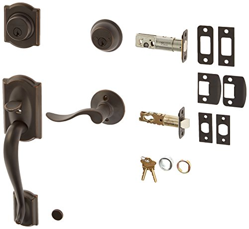 Schlage F62-CAM-ACC-LH Double Cylinder Sectional Handleset with Left Handed Acce, Aged (Sectional Handleset)