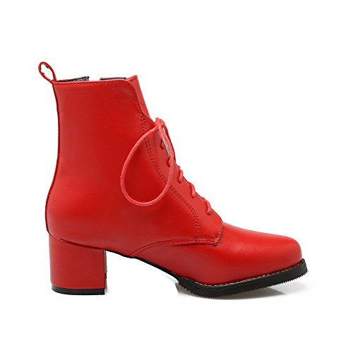 Kitten Closed Soft Toe Zipper Red Material Low Womens Boots Top Heels Round AmoonyFashion 6qHaZ