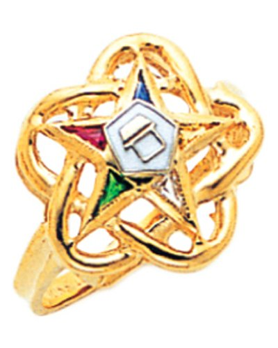 US Jewels And Gems New Ladies 10k Gold Masonic Freemason Eastern Star Ring (Size 9) 10k Gold Eastern Star