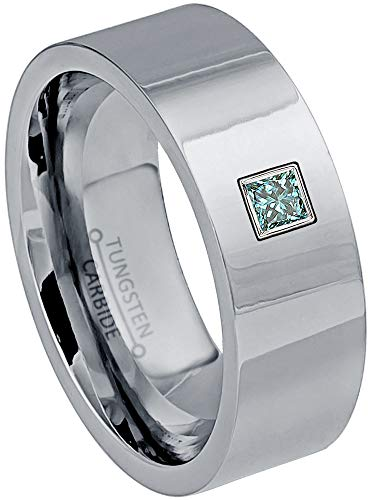 0.10ctw Solitaire Princess Cut Blue Diamond Tungsten Ring - 9MM Polished FInish Pipe Cut Tungsten Carbide Wedding Band - April Birthstone Ring - s12 (Comfort Fit Princess Cut Diamond)