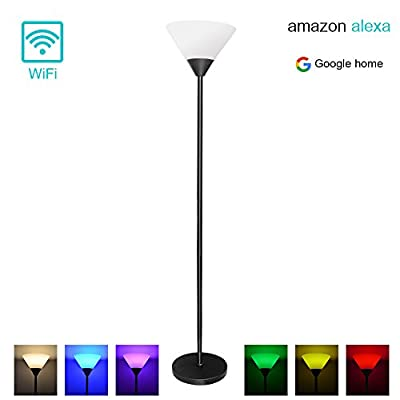 MLGB Floor Lamp 68'' Tall with White Shade Black Torchiere Floor Lamp, Alexa WiFi Smart Floor lamp, Dimmable Multicolored Color Changing LED Light