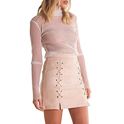 Froomer Women Cross Lace Up Bodycon Faux Suede Mini Skirt