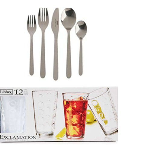 IKEA Fornuft 4 settings (20 piece) Flatware Set and Libbey Exclamation Glassware Drinking Set