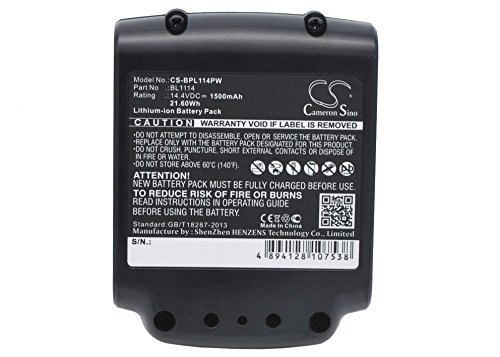 Price comparison product image BL1114 Replacement Battery (1500mAh / 21.60Wh) For BLACK & DECKER ASL146BT12A, ASL146K, ASL146KB, ASL148K,