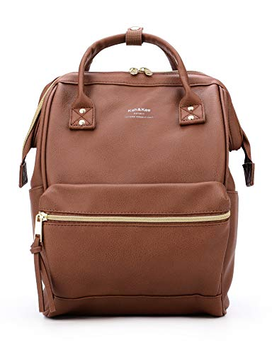 Kah&Kee Leather Backpack Diaper Bag Laptop Travel School for Women Man (Brown, Small)