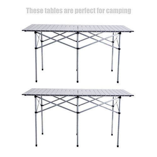 2PC 55'' Heavy Duty Roll Up Portable Folding Camping Square Aluminum Picnic Table w/ Carry Bag #396 by koonlert14