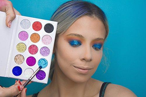 Pressed Glitter Eyeshadow Palette 15 Gel Rainbow Colors Highly Pigmented by Mynena (Image #4)
