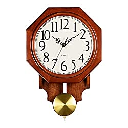 Wall Clock Non Ticking Battery Operated for Living Room Decor Silent Bedroom Vintage Chinese Octagon Retro Solid Wood