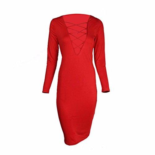 Coper ® Femmes À Long Crayon Mince Robe De Soirée De Bandage Manches Moulantes Vestidos Rouge