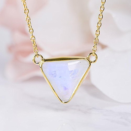 925 Sterling Silver Pendant, Checkerboard Rainbow Moonstone Gold Necklace, Genuine Gemstone Pendant, Trillion Vermeil Pendant, Women's Handmade Necklace, Anniversary Gift For (Gemstone Trillion Necklace)
