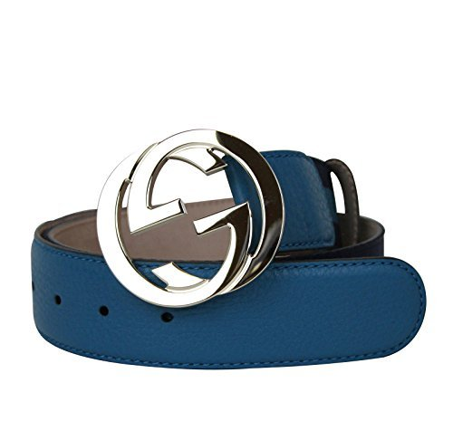 Gucci Women's Blue Webbing Interlocking G Buckle Belt 114876 4174 (90 / 36) by Gucci (Image #3)