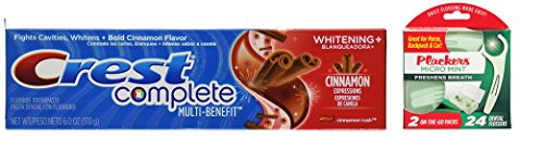 Crest Whitening Expressions Fluoride Anti cavity Toothpaste, Cinnamon Rush, 6 oz (Bundle with Plackers Travel Pack 24 Count) ()