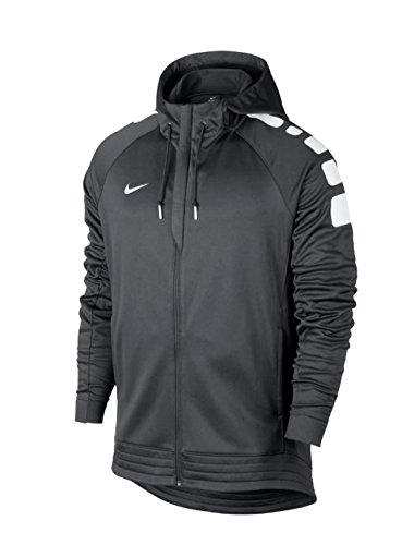 Nike Mens Elite Stripe Full Zip Hoody Anthracite Grey/White Size Large