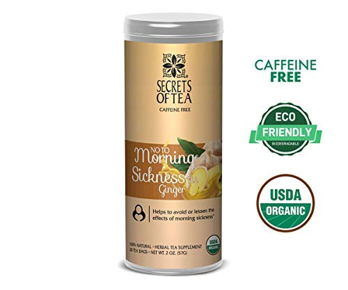 - Secrets of Tea - No to Morning Sickness Pregnancy Tea-Certified USDA Organic No Caffeine- Morning Sickness Relief,Nausea, Constipation (Ginger)
