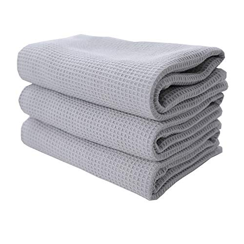 RAYKER Classic Kitchen Towels,Waffle Weave Tea Towels, Best Dish Cloths, 100% Cotton,Vintage Design,3 Pack in Large Size 45x65cm (Light Grey)