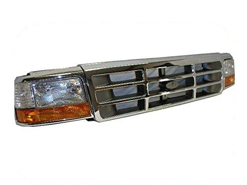 BUNDLE 92-96 F150 F250 Front Header Panel Grille Chrome Park Corner Headlight Bezel 10P